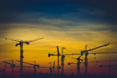 Crane. And evening sky and sunset royalty free stock photos