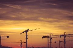 Crane. And evening sky and sunset royalty free stock image