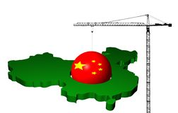 Crane with flag sphere and China map Royalty Free Stock Photo