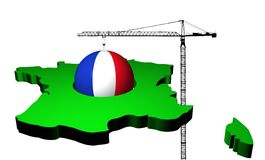 Crane with flag sphere and France map Stock Images
