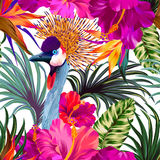 Crane and flowers. Vector floral composition with portrait of crowned crane bird. Editable elements, detailed illustration Royalty Free Stock Photo