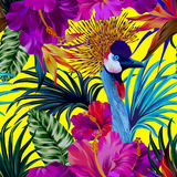 Crane and flowers. Vector floral composition with portrait of crowned crane bird. Editable elements, detailed illustration, tropical pattern, yellow background Royalty Free Stock Image
