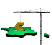 Crane and France map with euro Stock Photography