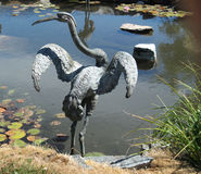 Crane garden sculpture Stock Photo