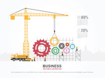 Crane and gear building. Infographic Template. Vector Illustration Royalty Free Stock Photography