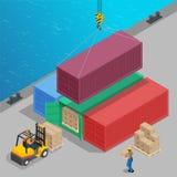 Crane gli ascensori un grande contenitore con carico isometrico Logistica globale Concetto del trasporto 3d del trasporto Caricam Fotografia Stock
