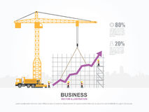 Crane and graph building. Infographic Template. Vector Illustration Royalty Free Stock Photo