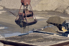 Crane with gravel Royalty Free Stock Photography