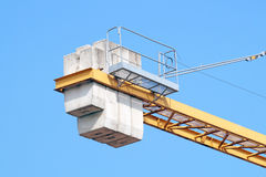 Crane gru detail. With blue sky in the background stock photo