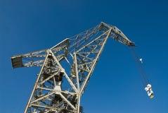 Crane in Hamburg Harbor and blue sky stock photography