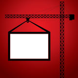 Crane hang the white blank board Stock Photo