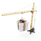 Crane with hanging gift Royalty Free Stock Photo
