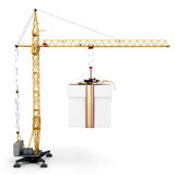 Crane with hanging gift on a white Stock Images