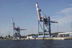 Crane in harbor Stock Photos