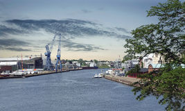 Crane in harbor. Crane in industrial harbor of luebeck in germany Stock Images