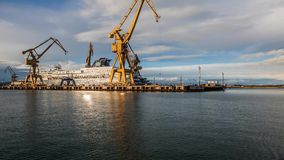 Crane on harbour stock video