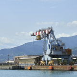 Crane in the harbour of genova Stock Photo