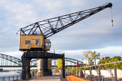 Crane in a harbour. Industrial crane in the Rheinhauhafen cologne germany Stock Image