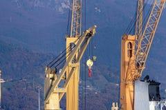 crane in the harbour of marina di carrara Royalty Free Stock Photo