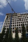 Crane and high rise building under construction with pines in front of it. royalty free stock photos