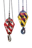 Crane hoist,wire rope sling and hook isolate on white background. Crane hoist,wire rope sling and hook isolate on white background Royalty Free Stock Images