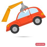 Crane hold the car for recycling color flat icon Stock Photos