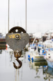 Crane Hook. Picture of an old crane hook. Shallow DOF royalty free stock images