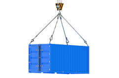 Crane hook and blue cargo container Stock Images