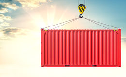 Crane hook and cargo container on sky background Stock Image