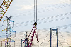 Crane hook in the construction site. Heavy duty crane hook in the construction site Stock Photos