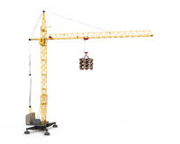 Crane with hook hanging pallets Stock Photography