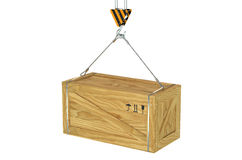 Crane hook with hanging wooden box Stock Photo