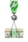 Crane hook holding stack of money Royalty Free Stock Photos