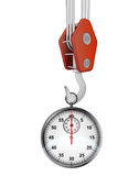 Crane hook lifting glossy stopwatch  Royalty Free Stock Images