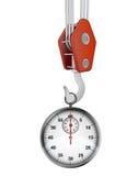 Crane hook lifting glossy stopwatch. Illustration stock illustration