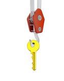 Crane hook lifting golden key. Illustration vector illustration