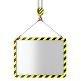 Crane hook lifting of placard. Isolated on white background stock illustration