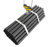 Crane hook lifting of steel pipes on a white. Background. 3d illustration royalty free illustration