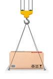 Crane Hook Lifts la plataforma con el paquete representación 3d Fotos de archivo libres de regalías
