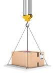 Crane Hook Lifts la plataforma con el paquete representación 3d Foto de archivo
