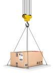 Crane Hook Lifts la plataforma con el paquete representación 3d Foto de archivo libre de regalías