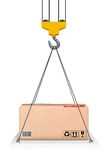 Crane Hook Lifts a plataforma com pacote rendição 3d ilustração royalty free