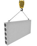 Crane hook lifts up concrete plate isolated. On white background Royalty Free Stock Image