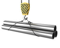 Free Crane Hook Lifts Up Few Pipes Stock Photography - 18449502