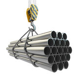 Crane hook and pipes. 3d Royalty Free Stock Photo