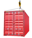 Crane hook and red cargo container Stock Photos