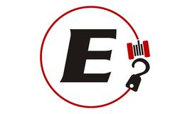 Crane Hook Towing Letter E Image libre de droits