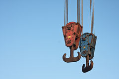 Crane hooks with copyspace for text Stock Photography