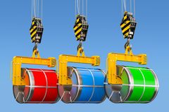 Crane hooks with galvanized steel sheet with polymer coating in. Coils, 3D stock illustration