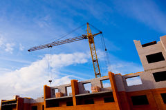 Crane and house construction Royalty Free Stock Image